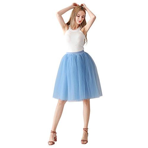 ShowYeu Femmes A-Ligne 60 CM Tutu Tulle Jupon Robe de Fte Mi-Mollet Vintage Demoiselles Party Dress Balle De Bal Lac Bleu