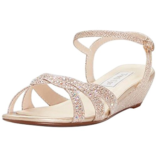 David's Bridal Glitter Mini-Wedge Sandals with Woven Straps Style Lena, Champagne, (Lena Champagne)