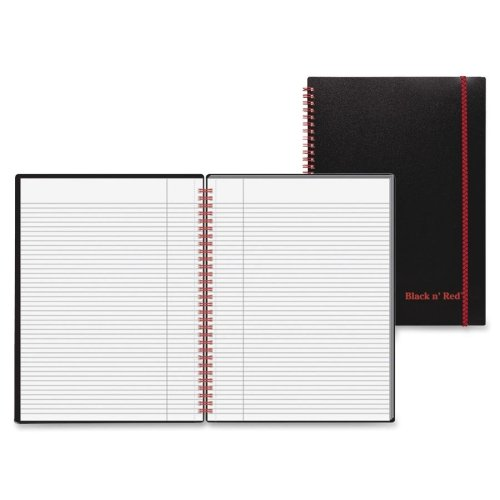 Wholesale CASE of 20 - Black n' Red Wirebound Poly Notebook w/front Pkt-Wirebound Book,Ruled/Perfed,11-3/4''x8-1/4'',70Shts,BK/RD