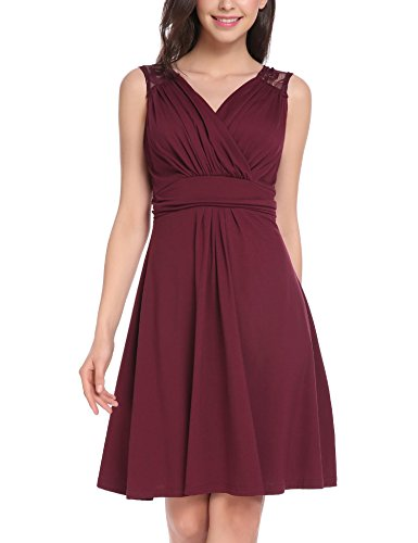Vessos Women's Slimming Sleeveless Fit-and-Flare Ruched Waist A-line Knee Length Lace Dress Wine Red Large