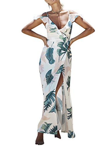 Simplee Apparel Women's Strap Ruffle Cold Shoulder Floral Print Wrap Maxi Dress Beach, white print, 1/9, Large