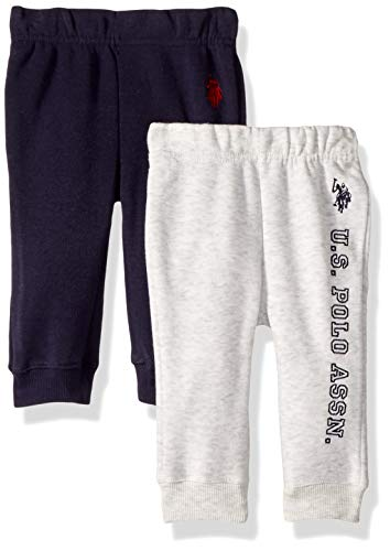 U.S. Polo Assn. Baby Boys 2 Jogger, Fleece Pack Solid Heather Grey/Navy, 3-6 Months