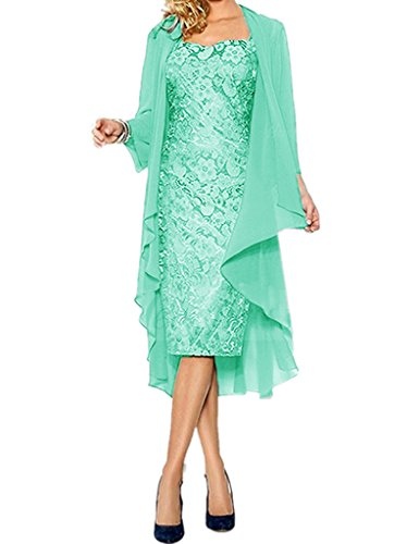 APXPF Women's Lace Mother of The Groom Dresses Tea Length with Jacket Mint US22