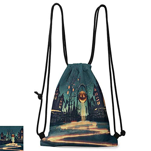 Yoga backpack Fantasy Art House Decor Halloween Theme Night Pumpkin and Haunted House Ghost Town Artful W14