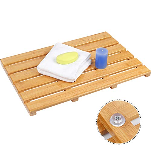 Ybj-ake Bamboo Shower Mat Square Bath &Floor Mats Non-Sliding Eco-Friendly,Suitable for Indoor & Outdoor,22 x15 in