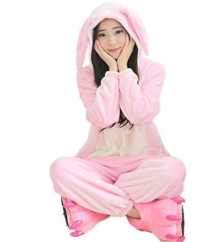 [Adult Pink Ears Rabbit Onesie Costume for Women Men Kigurumi Pajamas Animal Cosplay Partywear M] (Animal Costumes Coupon Code)