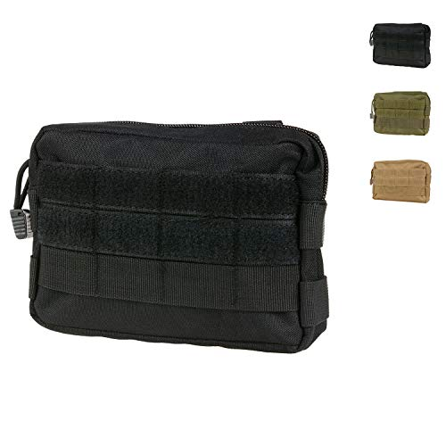 MOLLE Pouches - Compact Water-resistant Multi-purpose Tactical EDC Utility Gadget Gear Hanging waist Bags(Horizontal rectangle Pouch ,Black )