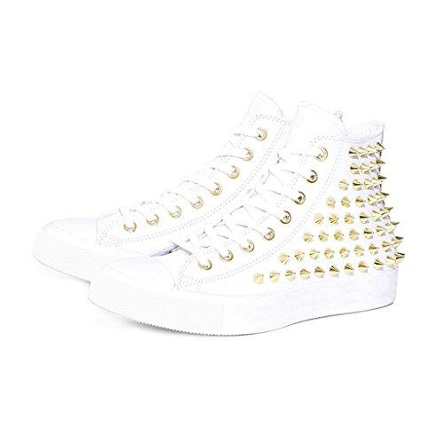 Sneakers Alte Con Borchie Zxd Allacciate Scarpe Da Ginnastica Sportive Con Rivetti Bianchi
