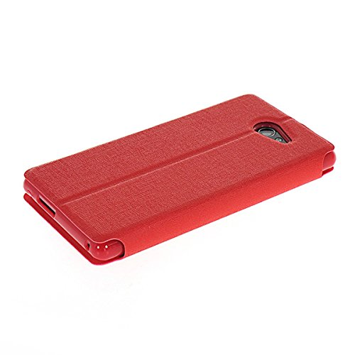 COOLKE Ultra Delgado Diseño de doble ventana Flip Funda Con Soporte Plegable Carcasa Funda Tapa Case Cover para Sony Xperia M2 / S50H - Negro Rojo