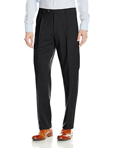 Hart Schaffner Marx Men's Single Pleat Chicago Fit Dress Pant, Charcoal Grey, 36 Regular
