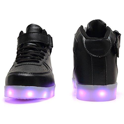 Fckee Nuovo Aggiornato Led Light Up Scarpe Sneakers Lampeggianti Illuminano Scarpe Sportive Ricarica Usb Lampeggiante Scarpe Per Bambini Donna Nero