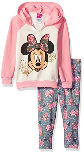 Disney Baby Girls 2 Piece Minnie Hooded Sweatshirt with Legging, Peach, 12M