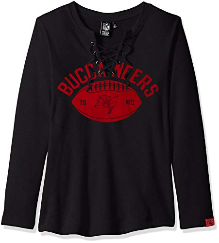 Icer Brands NFL Tampa Bay Buccaneers Women's Fleece Sweatshirt Lace Long Sleeve Shirt, Black, Medium
