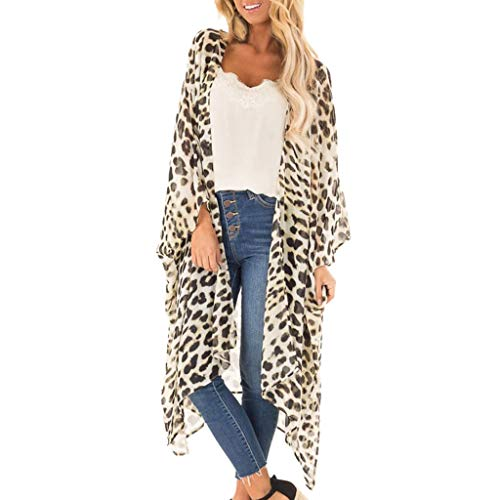 Pretty Cardigan Womens Sexy Short Sleeve Leisure Leopard Print V-Neck Long Coat Beige