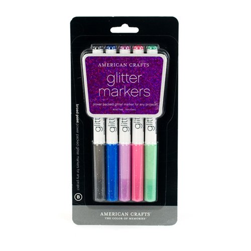 Point American Markers Broad Crafts (American Crafts Glitter Marker 5-Pack, Broad Point, Multi Color)