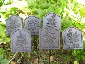 Charmant Set Of 6 Cast Iron Herb Signs Sage Rosemary Parsley Thyme Oregano Mint
