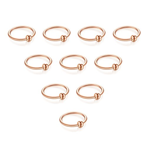 vcmart Cartilage Helix Earrings Hoop Nose Rings Stainless Steel Ear Tragus Piercing 16G 10mm Rose - 16g Captive Ring
