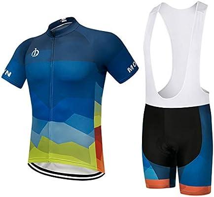 Moxilyn Ropa de Ciclismo Para Hombre Traje Traje de Bicicleta Conjunto de Verano Top + Bib Shorts Acolchados, Almohadilla de Asiento de Gel 9D Para ...