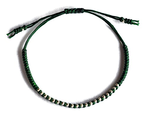 (SabanNga Thai Bracelet 925 Sterling Silver Bracelet Fashion Made by Karen Hill Tribe Green Wax Cord)