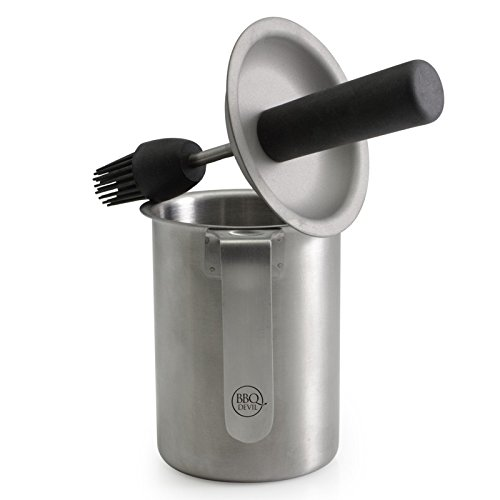 Stainless Steel Saucepot With Integrated Silicone Basting Brush, black- Heat Resistant, Soft Touch Handle with Lid Guard- Ideal for Sauces, Marinades, Condiments- Dishwasher Safe (17.5x12x12cm)