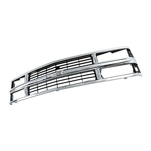 Perfit Liner New Front Chrome Silver Black Grille Grill For Chevy Chevrolet C/K 1500 2500 3500 Pickup Truck Suburban Tahoe SUV Fits Late Design With Composite Head Lamp Type GM1200238 15981106