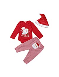 AiYannis6. Baby Girls Boys Christmas Santa Applique Winter Set First Xmas Party Outfits Long Sleeve Stripe Long Pants Red Hat