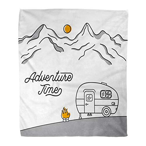 Emvency Throw Blanket Warm Cozy Print Flannel Road Retro Camper of Mountains Line Trip Van Comfortable Soft for Bed Sofa and Couch 60x80 Inches
