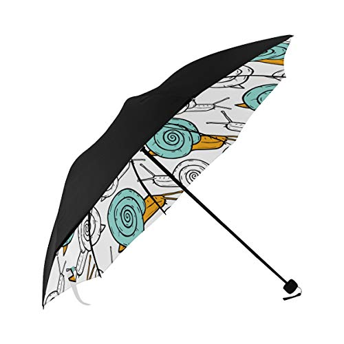 Navy Blue Snail Fashion Animal Cute Crawling Design Cartoon Compact Travel Umbrella Parasol Anti Uv Foldable Umbrellas(underside Printing) As Best Present For Women Uv Protection