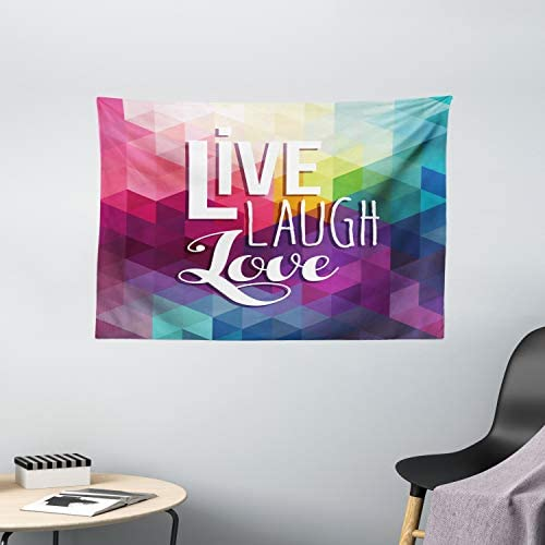 Ambesonne Live Laugh Love Tapestry, Geometric Colorful Backdrop with Polygonal Mosaic Happiness Words Words, Wide Wall Hanging for Bedroom Living Room Dorm, 60 X 40 , Pastel Magenta