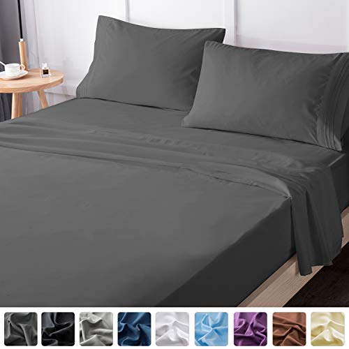 LIANLAM King Bed Sheets Set - Super Soft Brushed Microfiber 1800 Thread Count - Breathable Luxury Egyptian Sheets 16-Inch Deep Pocket - Wrinkle and Hypoallergenic-4 Piece(King, Dark Grey) (Super King Bed Set)