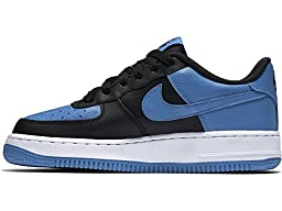 Nike Boys Air Force 1 Low Basketball Sneaker Black/White/Star Blue 5Y