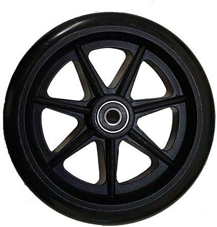 JIAMIN Otros accesorios de repuesto para silla de ruedas, rueda negra de uretano de 6 pulgadas, accesorios de repuesto para movilidad