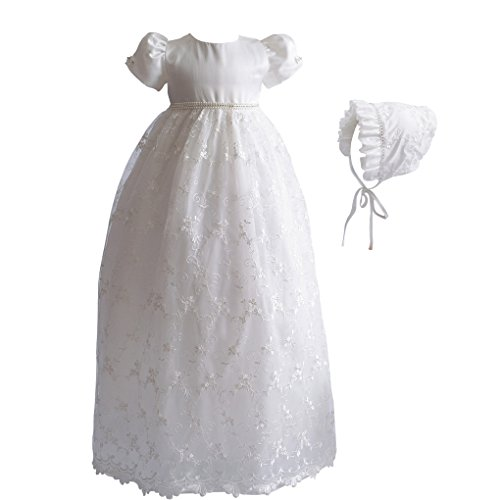 Romping House Baby Girls Floral Lace Empire Waist Organza Long Christening Gown Baptism Dress with Ruffle Bonnet Ivory Size 9M