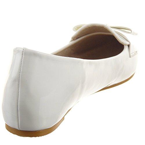 Sopily - Zapatillas de Moda Mocasines Bailarinas Tobillo mujer brillantes nodo Talón Tacón ancho 0.5 CM - Blanco