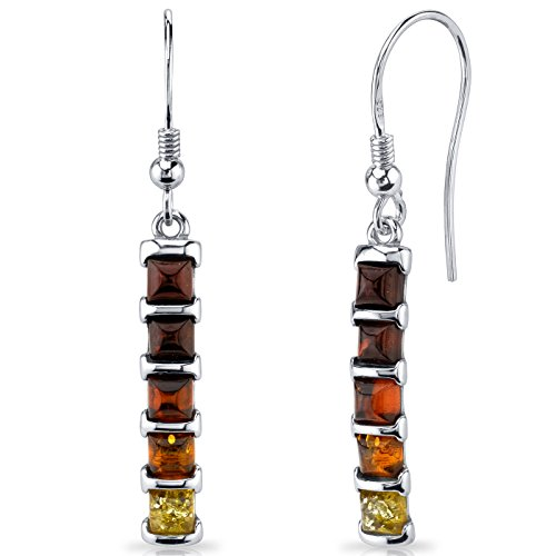 Sterling Silver Multi Color Stone - Five Stone Multi Color Baltic Amber Dangle Earrings Sterling Silver