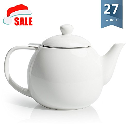 HIC Teapot with Stainless Steel Infuser 32-Ounce Capacity 6-Cup Blueberry Ceramic Stoneware