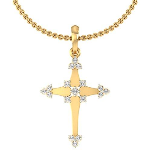 Or jaune 18K 0.16CT TW Round-cut-diamond (IJ | SI) diamant Pendentif