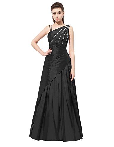 Dresstells®Vestido De Fiesta Mujer Largo Un Hombro De Tafetán Vestido De Boda De Noche Negro