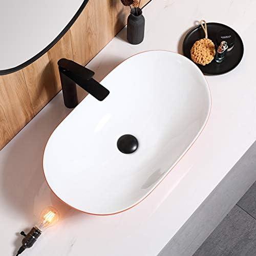 DS- バスルームの洗面台、半月状セラミック(タップ無し)カウンタ上流域家庭シンクの洗面化粧台、単一流域、62X37X15cm 洗面ボール && (Size : 62X37X15cm)