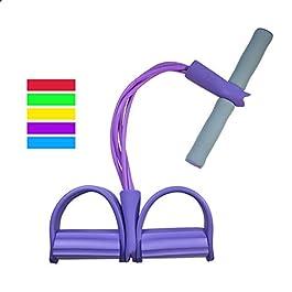 Multifunction Leg Exerciser Sit-up Bodybuilding Expander Elastic Pull Rope Training Equipment, 4-Tube Elastic Sit Up Pull Rope with Foot Pedal Abdominal Exerciser Fitness Yoga Equipment – Purple