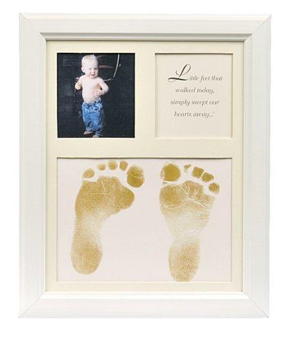 The Grandparent Gift Co. Baby Keepsakes Little Feet Footprint Frame, White