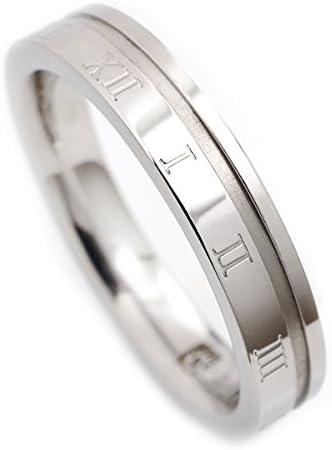 指輪 ステンレス リング ローマ数字4mm キュービック ジルコニア シルバー 21号