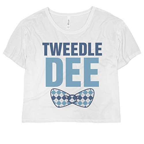 Tweedle Dee Bow: Bella Ladies Flowy Boxy Cropped Tee White