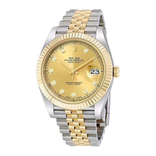 (Rolex Datejust 41 Champagne Diamond Steel and 18K Yellow Gold Jubilee Mens Watch 126333CDJ)