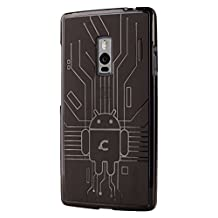 OnePlus 2 Case, Cruzerlite Bugdroid Circuit Case Compatible for OnePlus 2 / OnePlus Two - Retail Packaging - Smoke