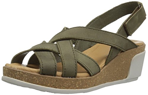 El Naturalista Damen N5002 Pleasant Leaves Open Toe Sandalen Grün (Kaki)