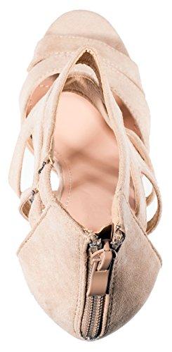 Damen Wildlederoptik Moderne Beige Chunkyrayan Pumps High Stilettos Elara Out Heels Cut dH7cY