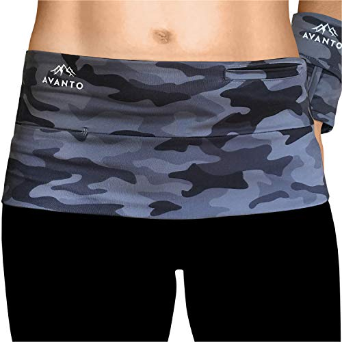 AVANTO Slim Fit Travel Money Belt with Free Wrist Wallet, Running Belt, Waist and Fanny Pack for Travel, for Women and Men, Comfortable Like Second Skin, M