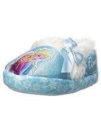 Disney Girl's Anna and Elsa Aline Slippers (11-12 M US Little Kid, Blue/White)
