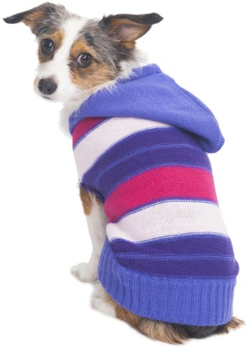 - Fashion Pet Hooded Striped Sweater for Pets, XX-Small, Pink
